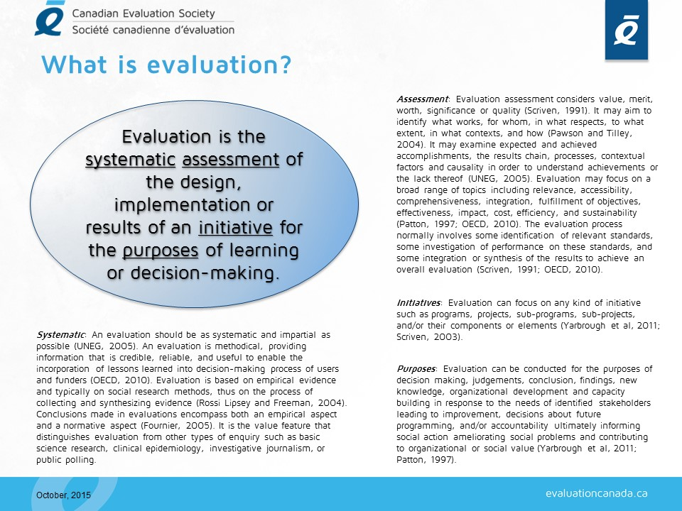 What Is Evaluation Evaluationcanada Ca Assessment (countable and uncountable, plural assessments). what is evaluation evaluationcanada ca